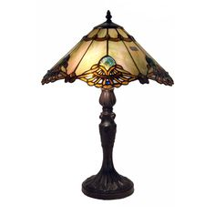 Bring old-world warmth and charm into your living space with this 22-inch Tiffany table lamp by Warehouse of Tiffany. Two lights shining through the shade's 342 pieces of cut, stained glass give this Courtesan lamp a jewel-like glow.