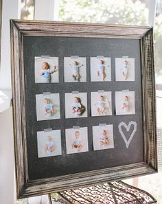 display monthly pictures at birthday party Baby 1st Birthday, Birthday Bash, First Birthday Parties, First Birthdays, First Birthday Decorations Boy, Simple First Birthday, First Birthday Pictures, Birthday Ideas, Foto Fun