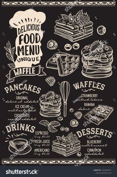Waffle and pancake menu template for restaurant on a blackboard background vector illustration brochure for gourmet food and drink cafe. Design layout with chefs hat lettering and hand-drawn graphic.