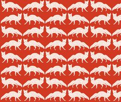 Christmas Fox fabric by papersparrow