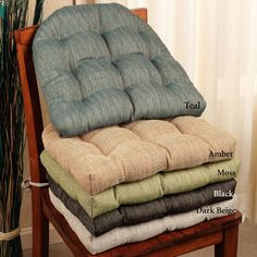 Handsome Woven Tweed Reversible Chair Cushions
