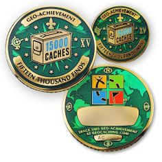 15000 Finds GeoAchievement set by GeoCachingOutlet on Etsy, $12.99