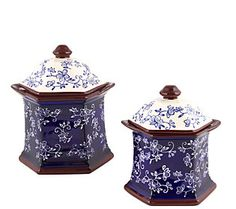 Temp-tations Floral Lace Set of 2 Canisters in Blue