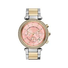 Michael Kors Parker Chronograph Pink Dial Two-tone Ladies Watch ($142) ❤ liked on Polyvore
