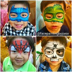 @facepaintingbyjonie face painting designs for boys. Pj masks, spiderman and pirate skull face.  #facepainting #boys #superheroes #spiderman#pjmasks #catboy #gecko #skullface