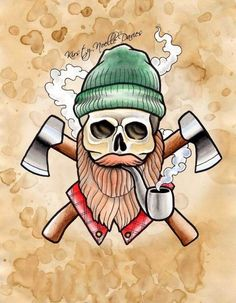 Lumber jack axe pipe beard skull Tattoo Flash Art~A.R.