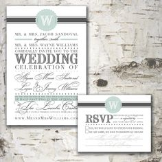 Custom Personalized WEDDING INVITATION & RSVP Digital Designs - Modern Vintage Monogram. $55.00, via Etsy.