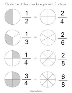 Shade the circles to make equivalent fractions Coloring Page - Twisty Noodle Multiplying Fractions, Fractions Worksheets, Equivalent Fractions, Kids Math Worksheets, Free Printable Worksheets, Dividing Fractions, Tales Of A 4th Grade Nothing, Math Charts, Have Fun Teaching