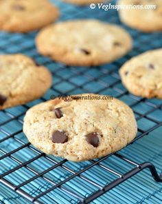 How to make egg free and butter free chocolate chip cookies with stepwise pictures ~ Choco chip cookies with coconut oil and almond meal ~ Chocolate chip cookies made healthier ~ Vegan cookies