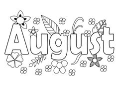 Beach Coloring Pages, Adult Coloring Pages, Coloring Pages For Kids, August Month, 15 August, Transitional Kindergarten, Month Colors, Creative Fonts, Colour Board