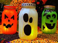 3 Halloween Mason Jar Lanterns you can make yourself. DIY Tutorial. http://putitinajar.com/crafts/