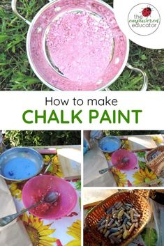 Chalk paint - make your own for fine motor and sensory play. A great DIY play resource for early learning educators, day care or teachers. Make your own chalk paint with this easy recipe and method Easy Crafts For Kids, Diy Arts And Crafts, Toddler Crafts, Art Activities For Kids, Toddler Activities, Preschool Activities, Diy Chalk Paint Recipe, Make Chalk Paint, Make Your Own