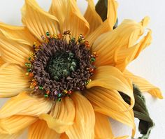 Silk sunflower brooch sunflower wedding summer wedding