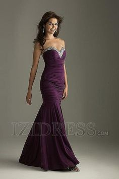 Trumpet/Mermaid Sweetheart Strapless Elastic Woven Satin Evening Dresses at IZIDRESS.com