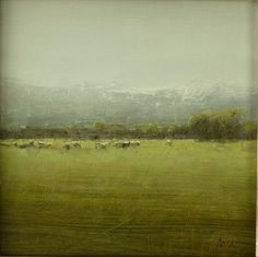 Michael Workman - Small Green Landscape with Sheep