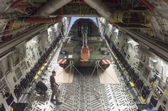 A Panzerhaubitze 2000 self-propelled howitzer being transported to Afghanistan by a Boeing C-17 Globemaster III.