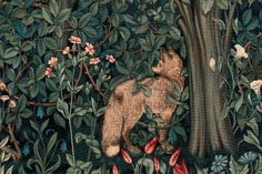 William Morris fine art tapestry by John Henry Dearle, called Greenery, highlights the greenery in the woods as a wild fox walks through. From the late Art print fine art master craft. William Morris, Art Floral, Linocut Prints, Art Prints, Block Prints, Floral Shower Curtains, Pre Raphaelite, Fox Design, Arts And Crafts Movement