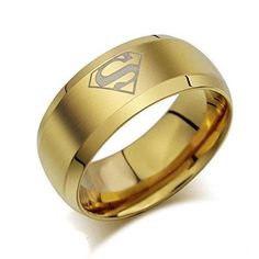 Buytra Jewelry Superhero Mark Men's Fashion Signet Rings Titanium Stainless Steel