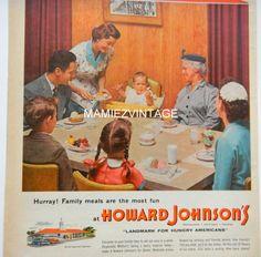 Vintage Howard Johnson's Magazine Ad/ HoJo/ by mamiezvintage, $9.95