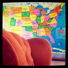 Vintage  School Map: found in Paris, Texas Wingback Chair: Goodwill.