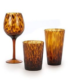 tourtoise  style drinking glass | ... glass features a classic tortoise design. Hand wash. This tortoise