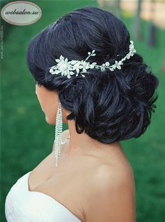 black updo wedding hairstyle with headpieces - Deer Pearl Flowers