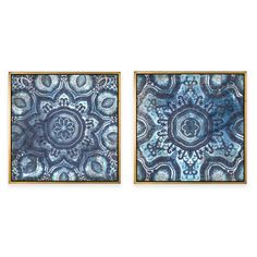 product image for Blue Tile Framed Canvas Wall Art