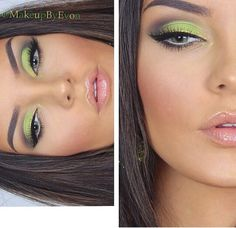 Pretty green eye makeup