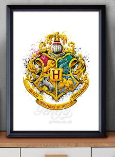 Harry Potter - Hogwarts Crest Watercolor Poster Print - Paper: Epson Heavy Weight High Quality Paper. Ink: High Quality Epson ink for vibrant prints. Various dimensions offered to fit standard photo frame sizes.