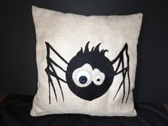 Cute Spider cushion Detailed Embroidery on puffy Foam Heavy duty quality fabric None removable cover Bobbly eyes-(not suitable small kids) Size: Square Zig Zag, Spider, Upcycle, Cushions, Throw Pillows, Embroidery, Eyes, Sewing, Cover