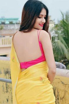 yellow and pink saree blouse designs Beautiful Girl Indian, Beautiful Girl Image, Most Beautiful Indian Actress, Beautiful Saree, Fancy Blouse Designs, Saree Blouse Designs, Pink Saree Blouse, Sexy Blouse, Saree Models