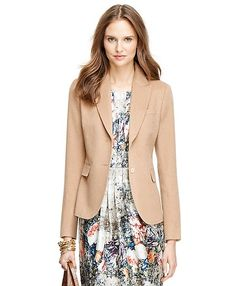 13f7cdeb75d090 Camel Hair Two-Button Jacket Saxxon® Wool A-line Skirt. Brooks Brothers ...