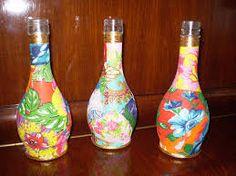 Resultado de imagem para garrafa de vidro decorada com tecido