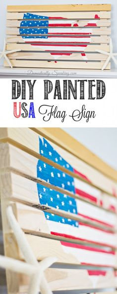 DIY Painted USA Flag Sign - a pallet looking sign full of patriotic pride with the flag painted on it.  Perfect for the 4th of July