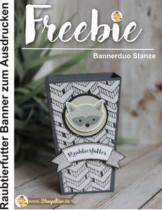 Freebie kostenlos zum Ausdrucken Banner passend zur Bannerduo Stanze von Stampin Up Raubtierfutter foxy friends Waschbär einfach tierisch