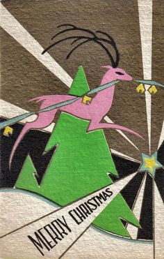 Vintage Art Deco Christmas card with pink reindeer
