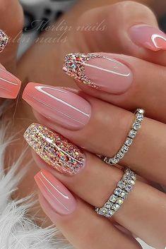 Classy Nail Designs, Cute Acrylic Nail Designs, Best Acrylic Nails, Nail Art Designs, Nails Design, Glitter Nail Designs, Classy Acrylic Nails, Acrylic Set, French Nail Designs