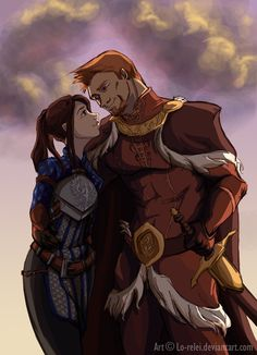 Dragon Age: the Grey Warden and King Alistair Dragon Age Origins, Dragon Age Inquisition, Dragon Age Characters, Fantasy Characters, Dragon Age Alistair, Dragon Age Romance, Grey Warden, Fantasy Couples, Dragon Age Series