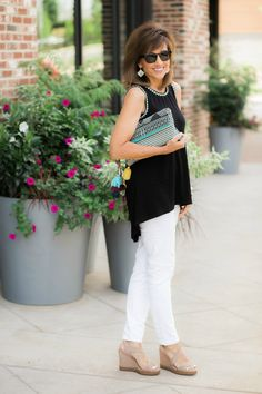 Classic Summer Outfit-Black top + White Jeans