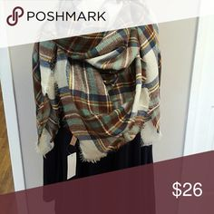 Navy and brown plaid blanket scarve Navy and brown plaid blanket scarve Accessories Scarves & Wraps