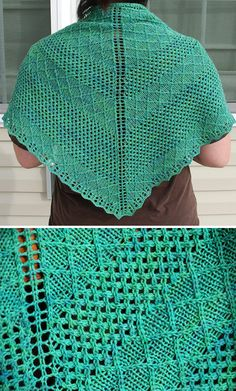 Free Knitting Pattern for Nancy and Judy Shawl - Sections of twisted stitches alternate with lace in stitch patterns from Barbara Walker's Treasuries. Pattern includes both chart and written instructions. Designed by Heather Zoppetti