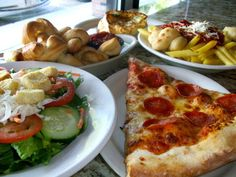 pizza, pasta, knots, salad!