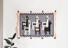 vintage peruvian wall hanging bohemian woven wall textile