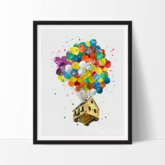 Up Balloon House Print, Disney Watercolor Art, Nursery, Kids Decor, Baby Room, Christmas Gift, Home Decor, Wall Art, Not Framed, No. 254