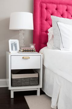 gray and white bedroom with hot pink headboard, bright pink, fuchsia, pantone pink yarrow