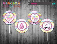 Roller Skate Cupcake Toppers/Roller Skate Favor Tag/Chevron/Roller Skate Birthday Party/Printable/Favor Tag/Party Printable/Cupcake Toppers