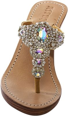 ae659a83c7f53 Mystique Gold   Pearl Wedge sandals. Mystique sandals in a full wedge with  white pearls