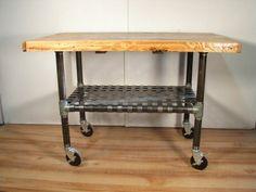 Industrial Wood & Iron Wheeled Cart Kitchen Island