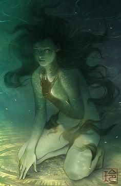 Glowing underwater spirit, undine, mermaid, selkie, nymph. So beautiful. April by raqmo