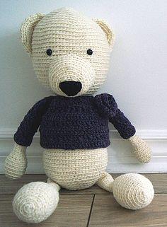 Handmade crochet bear - Delphine - Rustic teddy bear collection  Locally grown 100% wool  http://www.facebook.com/accrochepouce